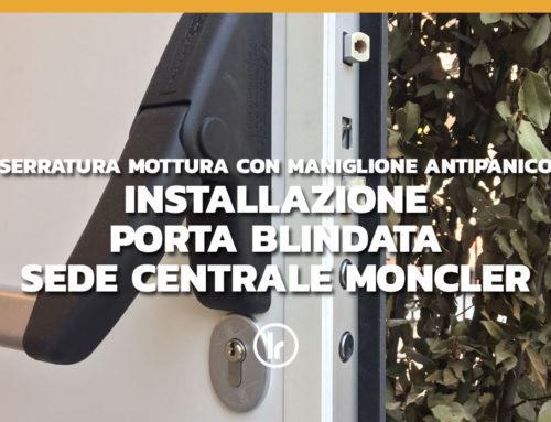 Installazione di porta blindata con maniglione antipanico e serratura Mottura