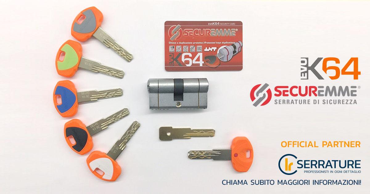 CILINDRO SECUREMME DI ALTISSIMA SICUREZZA evoK64 CCS mm 45-50 RESISTENTE AL BUMPING.